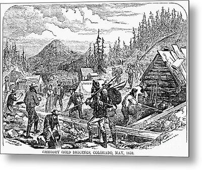 Colorado: Gold Mining, 1859 Metal Print by Granger