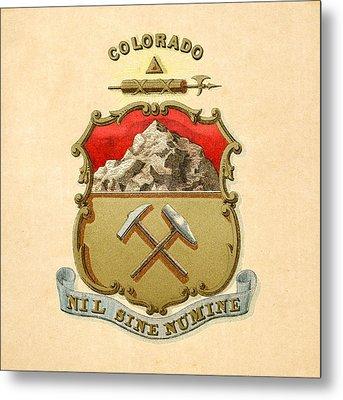 Colorado Historical Coat Of Arms Circa 1876 Metal Print