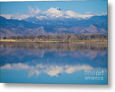 Colorado Longs Peak Circling Clouds Reflection Metal Print