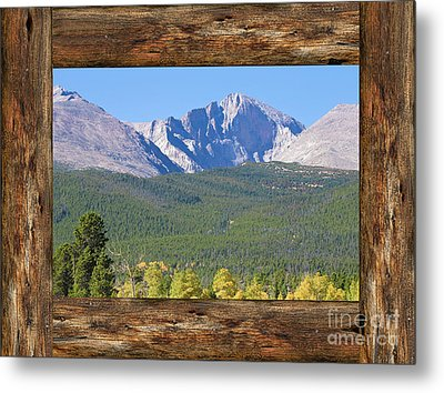 Colorado Longs Peak Rustic Wood Window View Metal Print