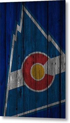 Colorado Rockies Wood Fence Metal Print