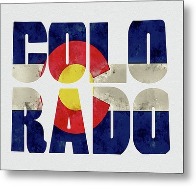 Colorado Typography Map Flag Metal Print by Kevin O'Hare