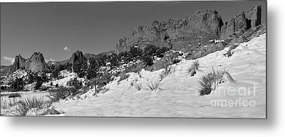 Metal Print featuring the photograph Colorado Winter Rock Garden Black And White by Adam Jewell