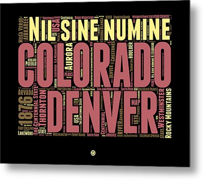 Colorado Word Cloud Map 1 Metal Print by Naxart Studio
