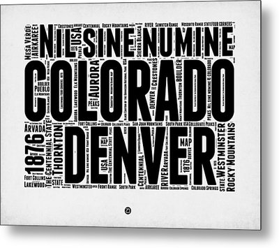 Colorado Word Cloud Map 2 Metal Print by Naxart Studio