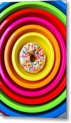 Colored Bowls And Donut Metal Print by Garry Gay