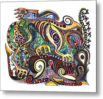 Colored Cultural Zoo D Version 2 Metal Print by Melinda Dare Benfield