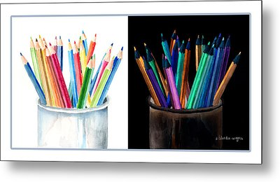 Colored Pencils - The Positive And The Negative Metal Print by Arline Wagner