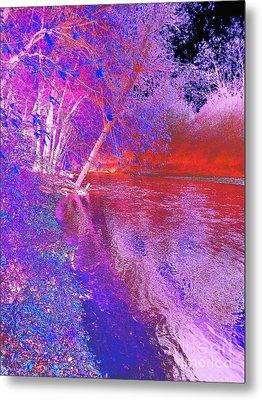 Colorful Abstract Art Of Flat Rock River Columbus Indiana Metal Print