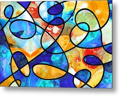 Colorful Art - Line Dance 1 - Sharon Cummings Metal Print by Sharon Cummings