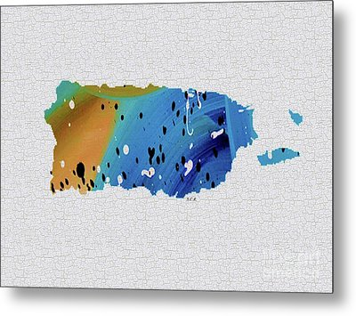 Colorful Art Puerto Rico Map Blue And Brown Metal Print by Saribelle Rodriguez