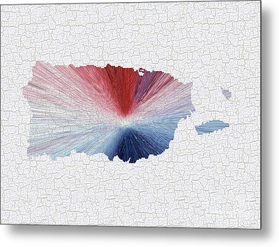 Colorful Art Puerto Rico Map Blue Red And White Metal Print by Saribelle Rodriguez