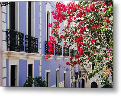 Colorful Balconies Of Old San Juan Puerto Rico Metal Print by George Oze