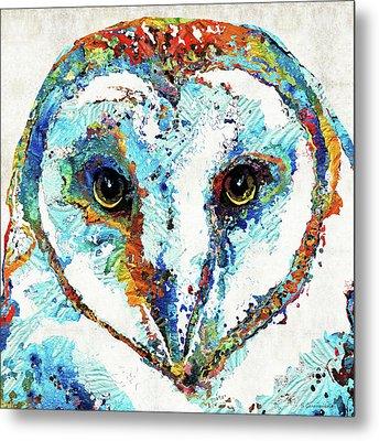 Colorful Barn Owl Art - Sharon Cummings Metal Print