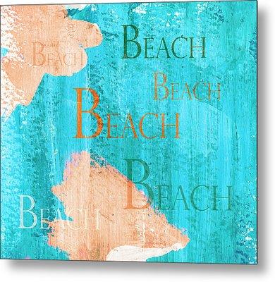 Colorful Beach Sign Metal Print