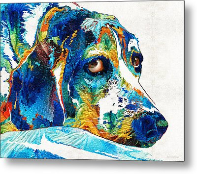 Colorful Beagle Dog Art By Sharon Cummings Metal Print by Sharon Cummings