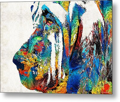 Colorful Bloodhound Dog Art By Sharon Cummings Metal Print
