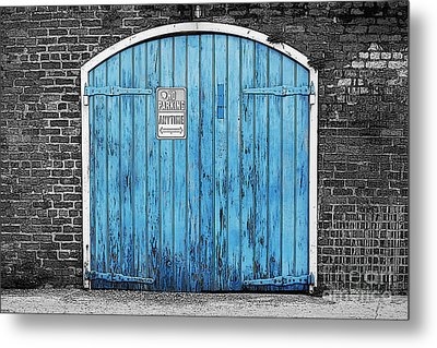 Colorful Blue Garage Door French Quarter New Orleans Color Splash Black And White And Poster Edges Metal Print by Shawn O'Brien