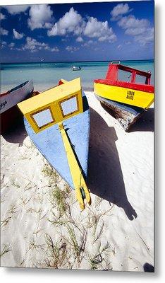 Colorful Boats On  Eagle Beach  Aruba Metal Print by George Oze