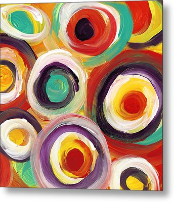 Colorful Bold Circles Square 1 Metal Print by Amy Vangsgard
