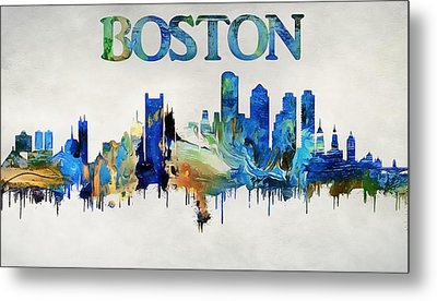 Colorful Boston Skyline Metal Print