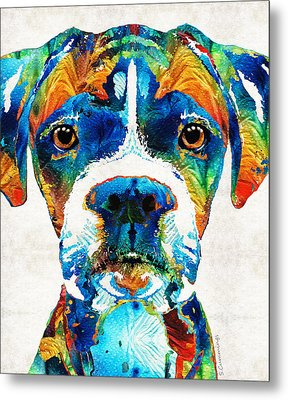 Colorful Boxer Dog Art By Sharon Cummings  Metal Print
