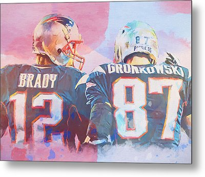 Metal Print featuring the painting Colorful Brady And Gronkowski by Dan Sproul