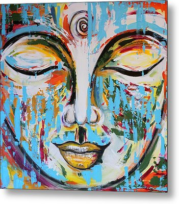 Colorful Buddha Metal Print by Theresa Marie Johnson