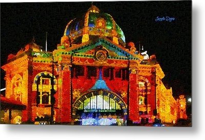 Colorful Building At Night - Pa Metal Print by Leonardo Digenio