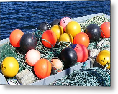 Metal Print featuring the photograph Colorful Buoys by Barbara Griffin