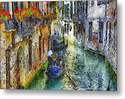 Colorful Canal In Venice Metal Print by Georgiana Romanovna