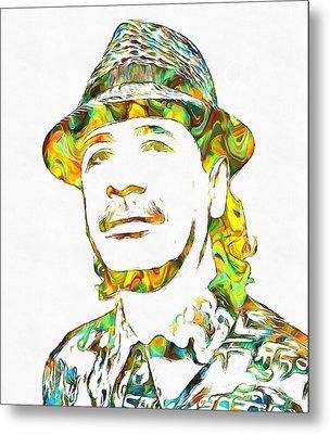 Colorful Carlos Santana Metal Print