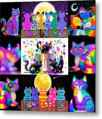 Colorful Cat Collage  Metal Print by Nick Gustafson