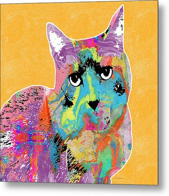 Colorful Cat With An Attitude- Art By Linda Woods Metal Print by Linda Woods