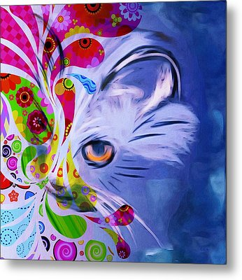 Metal Print featuring the mixed media Colorful Cat World by Gabriella Weninger - David