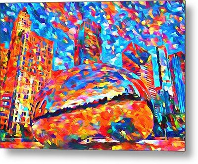 Metal Print featuring the painting Colorful Chicago Bean by Dan Sproul
