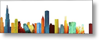 Colorful Chicago Skyline Metal Print by Art Spectrum