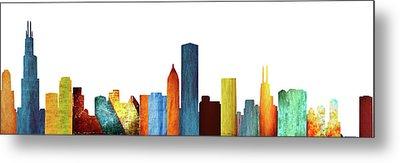 Colorful Chicago Skyline Metal Print