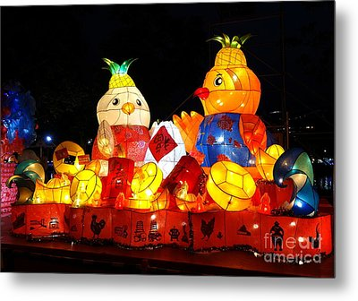 Metal Print featuring the photograph Colorful Chinese Lanterns In The Shape Of Chickens by Yali Shi
