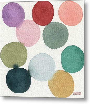 Colorful Circles Abstract Watercolor Metal Print by Beverly Brown