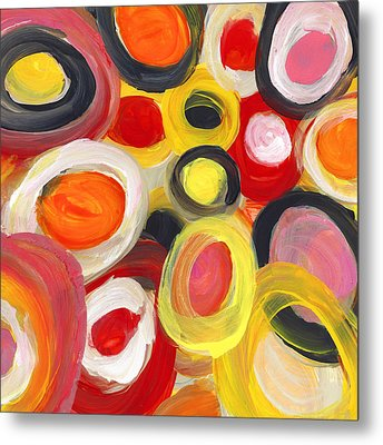 Colorful Circles In Motion Square 3 Metal Print by Amy Vangsgard