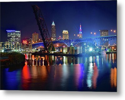 Metal Print featuring the photograph Colorful Cleveland Lights Shimmer Bright by Frozen in Time Fine Art Photography
