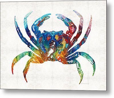 Colorful Crab Art By Sharon Cummings Metal Print by Sharon Cummings