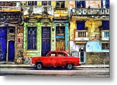 Metal Print featuring the painting Colorful Cuba by Edward Fielding