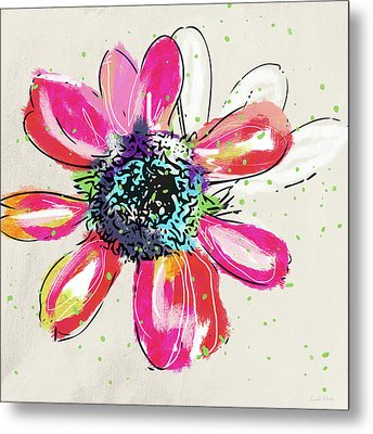 Metal Print featuring the mixed media Colorful Daisy- Art By Linda Woods by Linda Woods