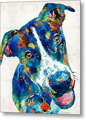 Colorful Dog Art - Happy Go Lucky - By Sharon Cummings Metal Print by Sharon Cummings