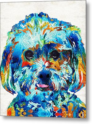 Colorful Dog Art - Lhasa Love - By Sharon Cummings Metal Print