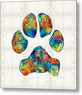 Colorful Dog Paw Print By Sharon Cummings Metal Print by Sharon Cummings