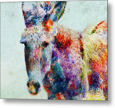 Colorful Donkey Art Metal Print
