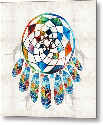 Colorful Dream Catcher By Sharon Cummings Metal Print by Sharon Cummings